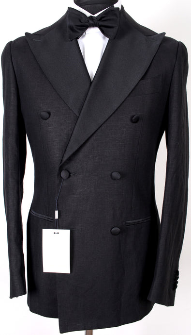 New Suitsupply Havana Black 100% Linen Double Breasted Tuxedo - Size 38S, 38R, 40R, 42R