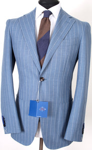 New Suitsupply JORT Light Blue Stripe 100% Wool Unlined Suit - Size 38R