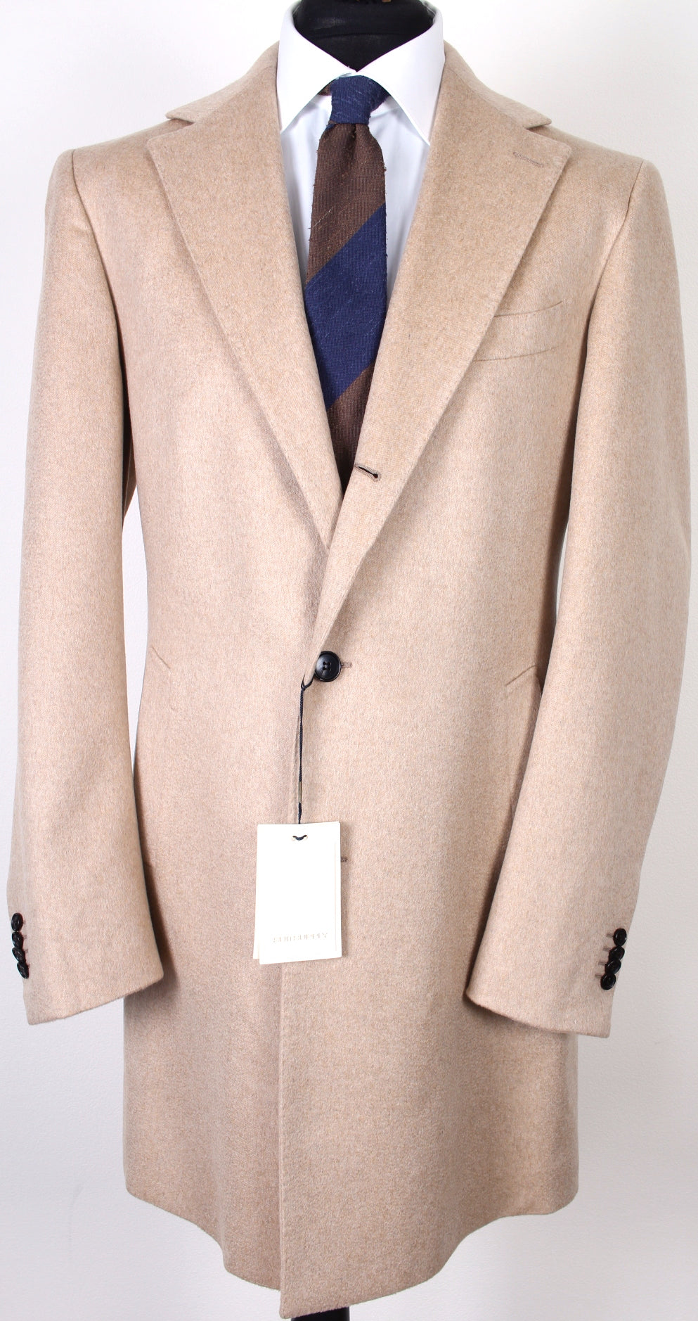 New Suitsupply Vincenza Light Brown 100% Cashmere Coat - Size 44L