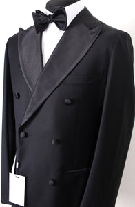 New Suitsupply Havana Black 100% Wool DB Full Tuxedo - Size 40R, 42R, 44R