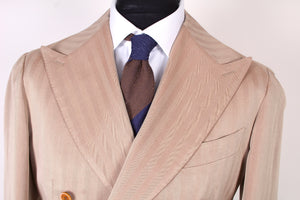 New Suitsupply Havana Light Brown Herringbone 100% Cotton DB Suit - Size 32R, 34R, 36R, 38R, 40S, 40R, 40L, 42R, 42L, 44R, 46R, 46R