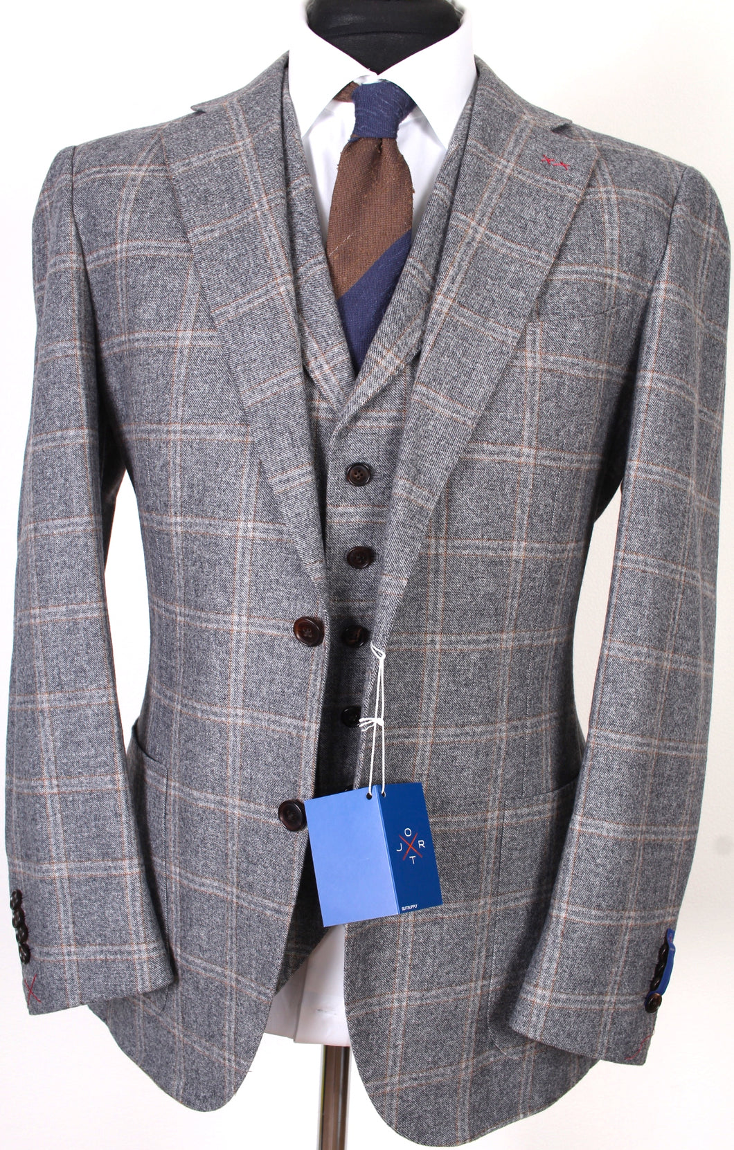New Suitsupply JORT Gray Check 100% Wool Super 130s 3 Piece Suit - Size 42R (FINAL SALE)