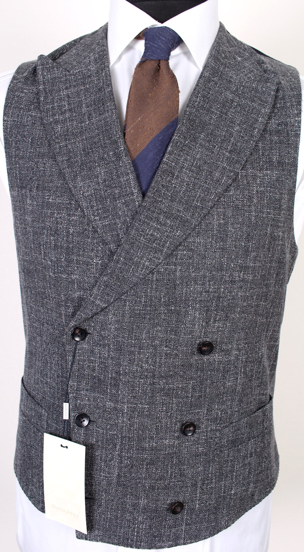 New Suitsupply PIERRE Gray Plain 100% Cotton DB Waistcoat - Size 36R, 38R, 40R, 42R