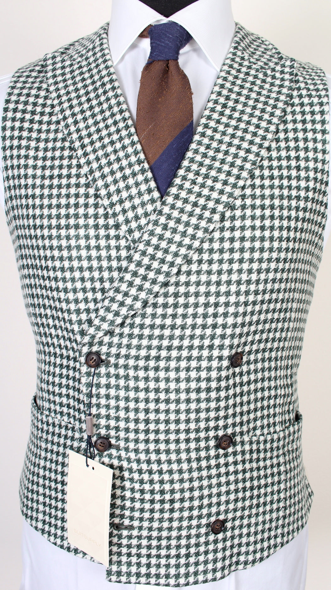 New Suitsupply PIERRE Green Houndstooth 100% Linen DB Waistcoat - Size 42R