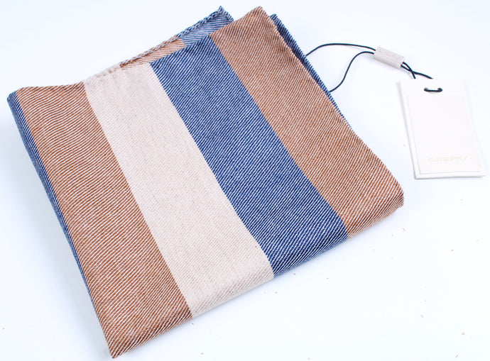 New Suitsupply Brown/Blue Stripe Wool and Silk Pocket Square