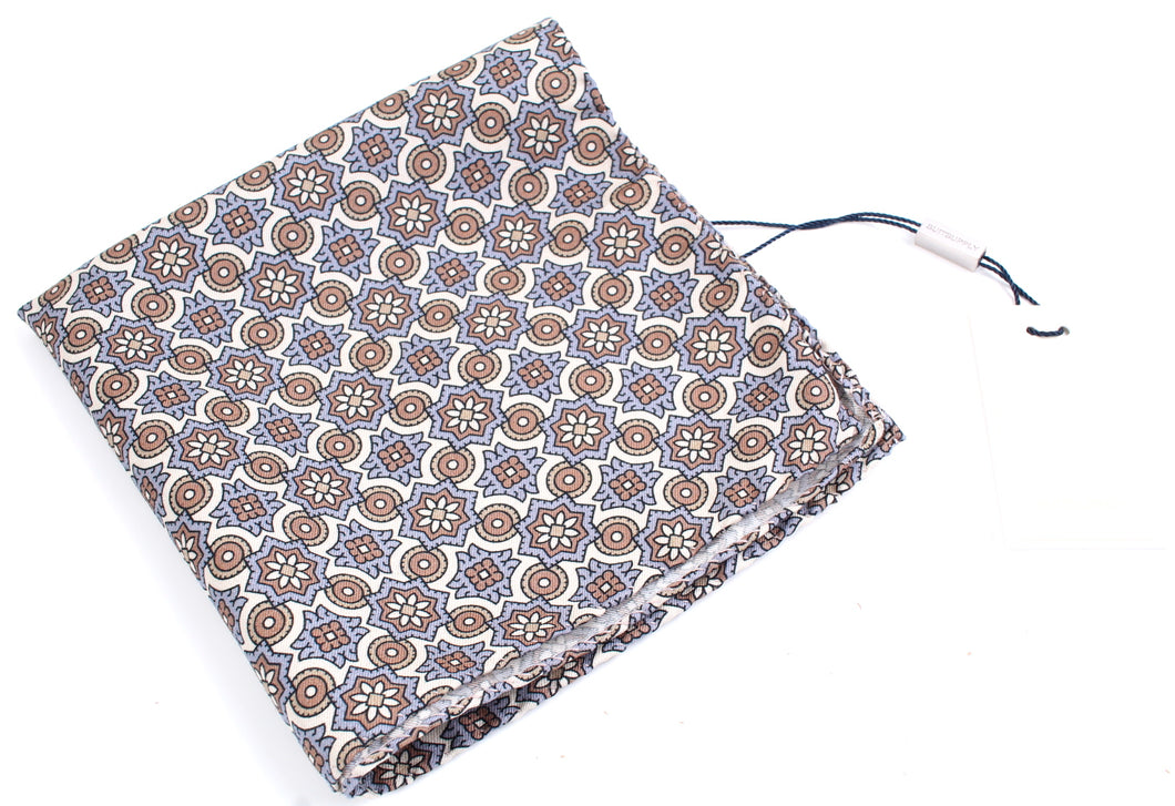 New Suitsupply Light Blue/Brown Flower Silk Pocket Square