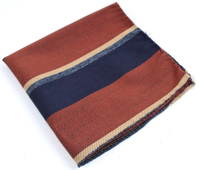 New Suitsupply Brown and Blue Stripe Wool and SIlk Pocket Square