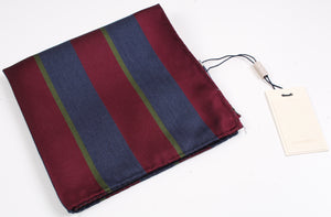 New Suitsupply Burgundy, Green and Blue Stripe Wool/Silk Pocket Square