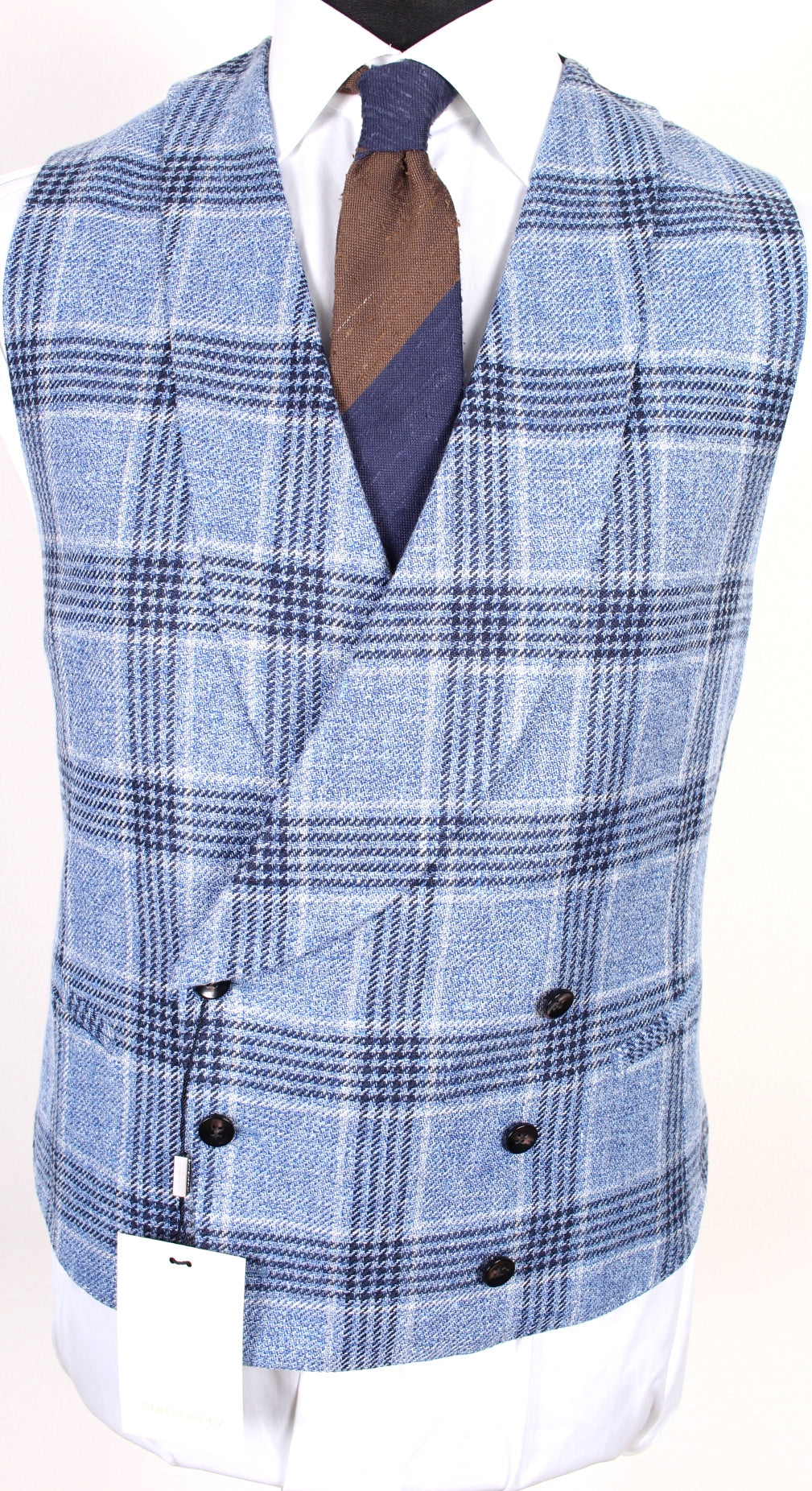 New Suitsupply Salvo Light Blue Check Linen, Silk, Cotton Waistcoat - Size 38R, 40R, 42R, 44R, 46R