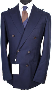 New Suitsupply Havana Navy Blue Patch 100% Wool DB Suit - Size 42L