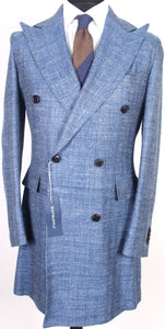 New Suitsupply Moore Light Blue Herringbone Wool, Silk and Linen DB Spring Coat - Size 38R