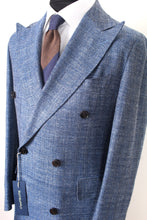 Load image into Gallery viewer, New Suitsupply Moore Light Blue Herringbone Wool, Silk and Linen DB Spring Coat - Size 38R