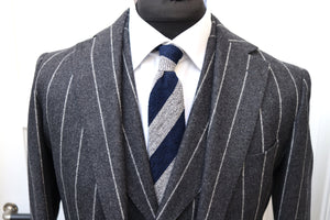 Used SUITSUPPLY Havana Gray Stripe 100% Wool Flannel 3 Piece Suit  - Size 42L