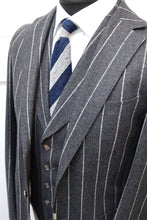 Load image into Gallery viewer, Used SUITSUPPLY Havana Gray Stripe 100% Wool Flannel 3 Piece Suit  - Size 42L