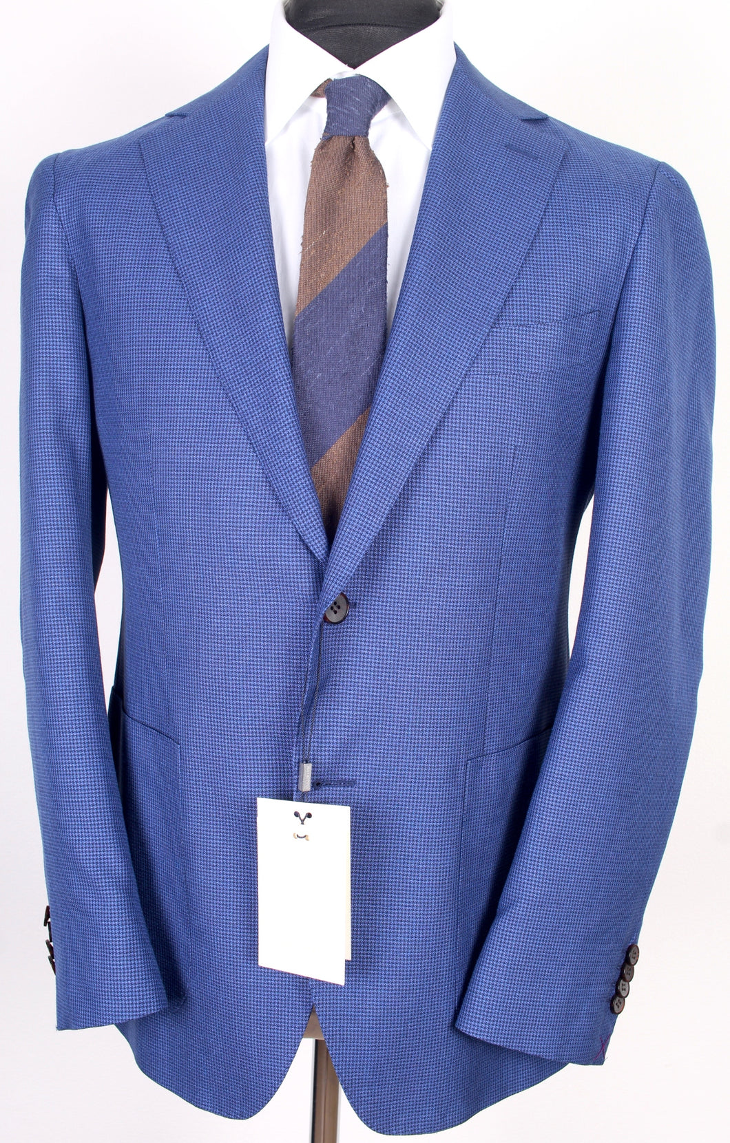 New Suitsupply Havana Blue Houndstooth Birdseye Wool, Silk and Linen Blazer - Size 42S
