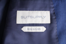 Load image into Gallery viewer, New Suitsupply Havana Blue Houndstooth Birdseye Wool, Silk and Linen Blazer - Size 42S
