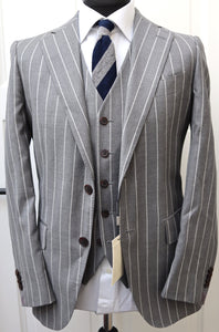 New with Tags SUITSUPPLY LAZIO Mid Gray Stripe Suit - Size 36R and 38R