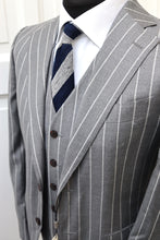 Load image into Gallery viewer, New with Tags SUITSUPPLY LAZIO Mid Gray Stripe Suit - Size 36R and 38R