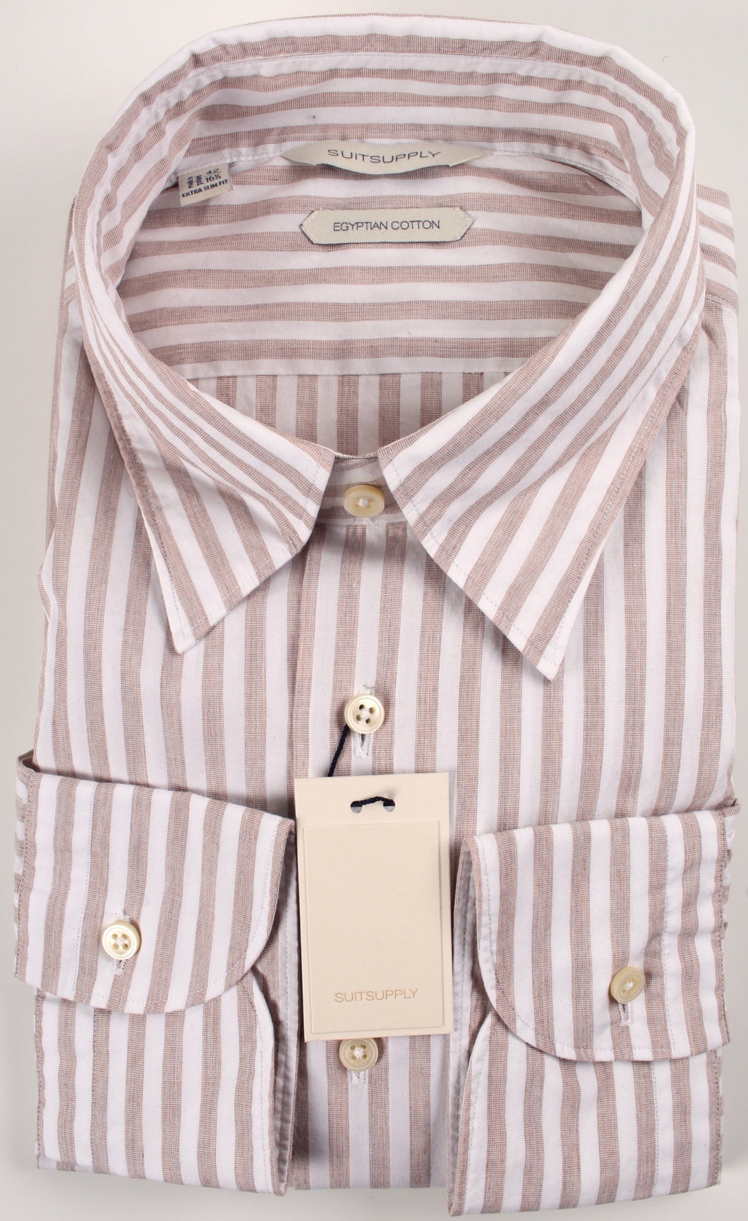 New Suitsupply Brown Stripe Button Down Collar Egyptian Cotton Extra Slim Fit Shirt - Size 16.5