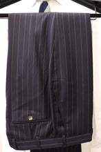 Load image into Gallery viewer, NWT Suitsupply Havana Navy Blue Pinstripe 100% Wool DB Suit - Size 34R and 40R