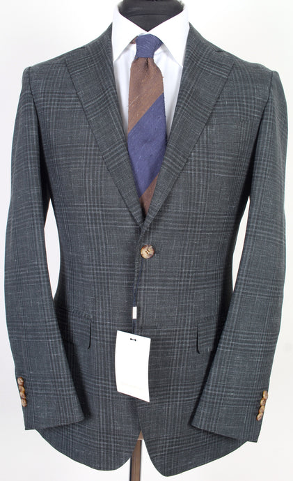New Suitsupply Havana Forest Green Check Wool, Silk and Linen Suit - Size 38R