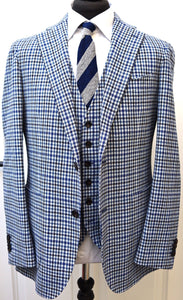 New with Tags SUITSUPPLY HAVANA Blue Check Wool Cashmere 3 Piece Suit - Size 42R