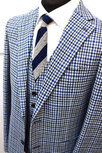 Load image into Gallery viewer, New with Tags SUITSUPPLY HAVANA Blue Check Wool Cashmere 3 Piece Suit - Size 42R