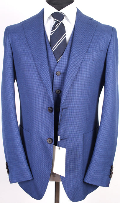 New Suitsupply Havana Mid Blue Houndstooth Wool, Silk, Linen Suit - Size 38R, 40R, 42R