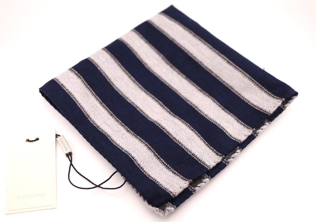 New With Tags SUITSUPPLY Navy Stripe 88% Wool and 12% Silk Pocket Square