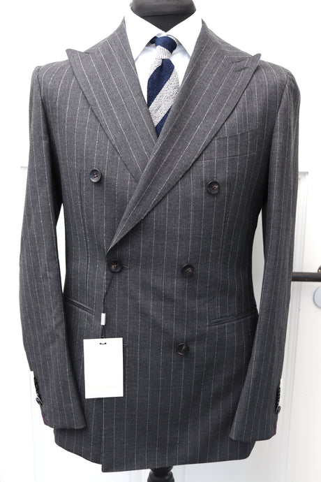 NWT SUITSUPPLY HAVANA Dark Gray Chalkstripe 100% Wool Suit - Size 38R, 40R and 42R