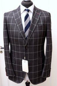 New W. Tags SUITSUPPLY Sienna Dark Gray Check 54% Silk Suit - Various Sizes Available