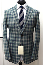 Load image into Gallery viewer, New W. Tags SUITSUPPLY Havana Blue/Green Check Cotton, Linen and Silk Blazer - Size 38R