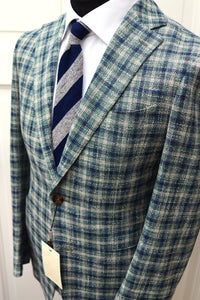 New W. Tags SUITSUPPLY Havana Blue/Green Check Cotton, Linen and Silk Blazer - Size 38R
