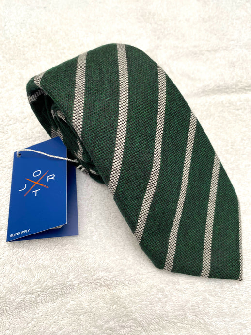 New With Tags SUITSUPPLY JORT Green and Gray Stripe 86% Wool and 15% Silk - 7 Fold Tie