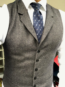 New Without Tags CAPETOWN Brown Houndstooth 100% Wool Waistcoat- Size 38R