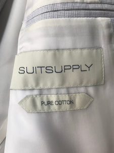 New With Tags SUITSUPPLY Havana Light Gray Houndstooth 100% Cotton Suit - SIze 38R