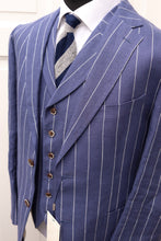 Load image into Gallery viewer, NWT SUITSUPPLY Havana Blue Stripe 100% Linen 3 Piece Suit - Size 42R