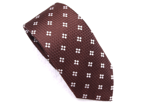 New With Tags SUITSUPPLY Brown Flower 100% Silk Tie