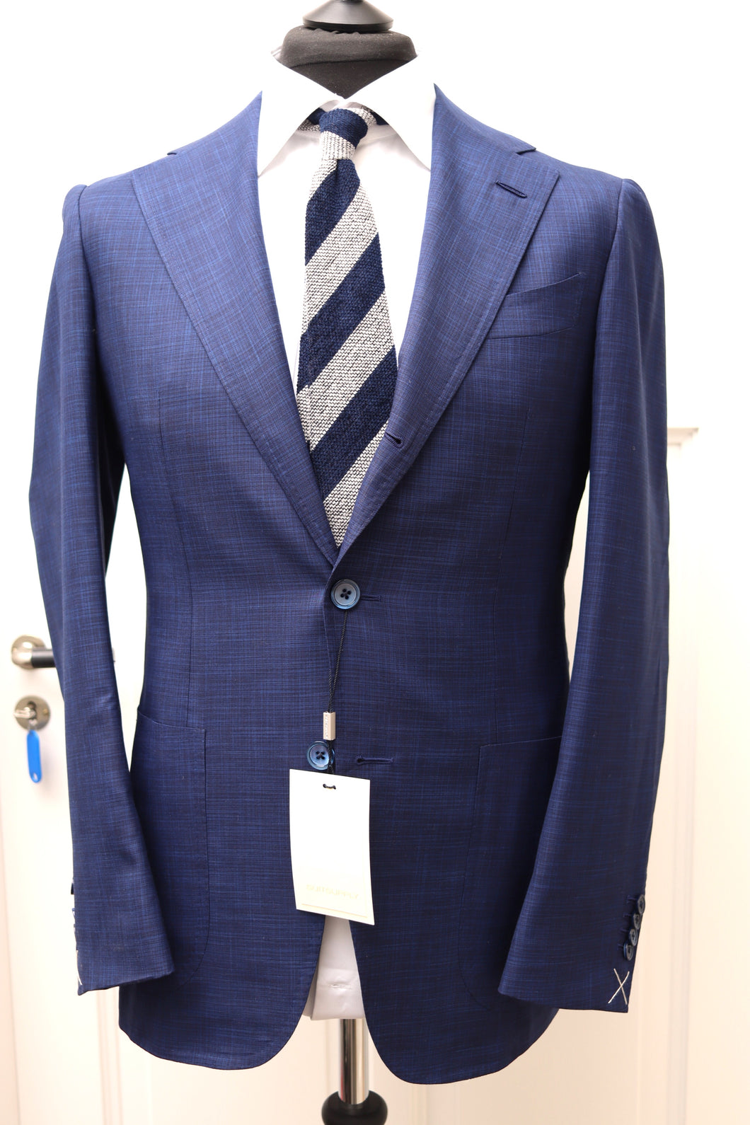 NWT Suitsupply Havana Mid Blue Wool/Silk Check Full Canvas Suit - Size 38R