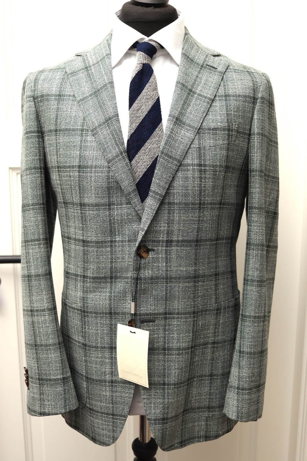 NWT Suitsupply Havana Green Check Wool and Silk Jacket -Size 40R
