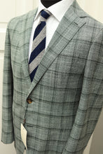 Load image into Gallery viewer, NWT Suitsupply Havana Green Check Wool and Silk Jacket -Size 40R
