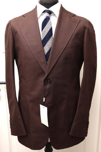 NWT Suitsupply Havana Wide Lapel Chocolate Brown 100% Cotton Suit - Size 44R