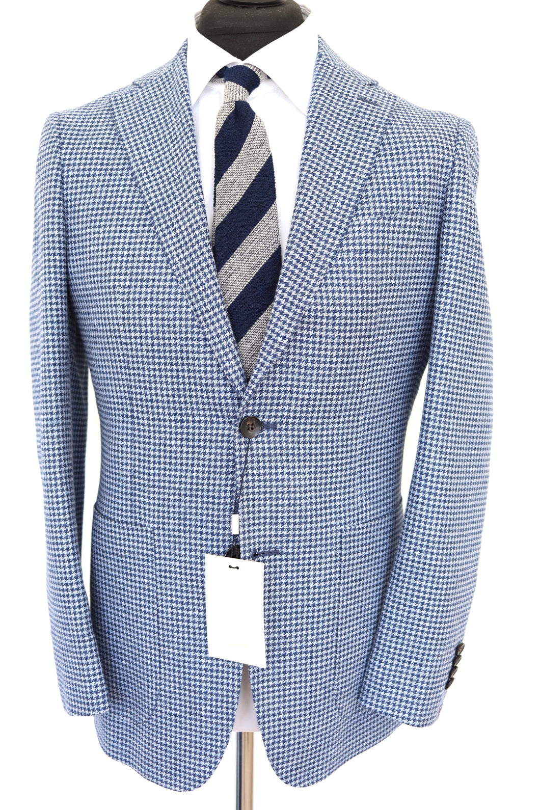 NWT Suitsupply Havana Light Blue Houndstooth Jacket - Size 38R