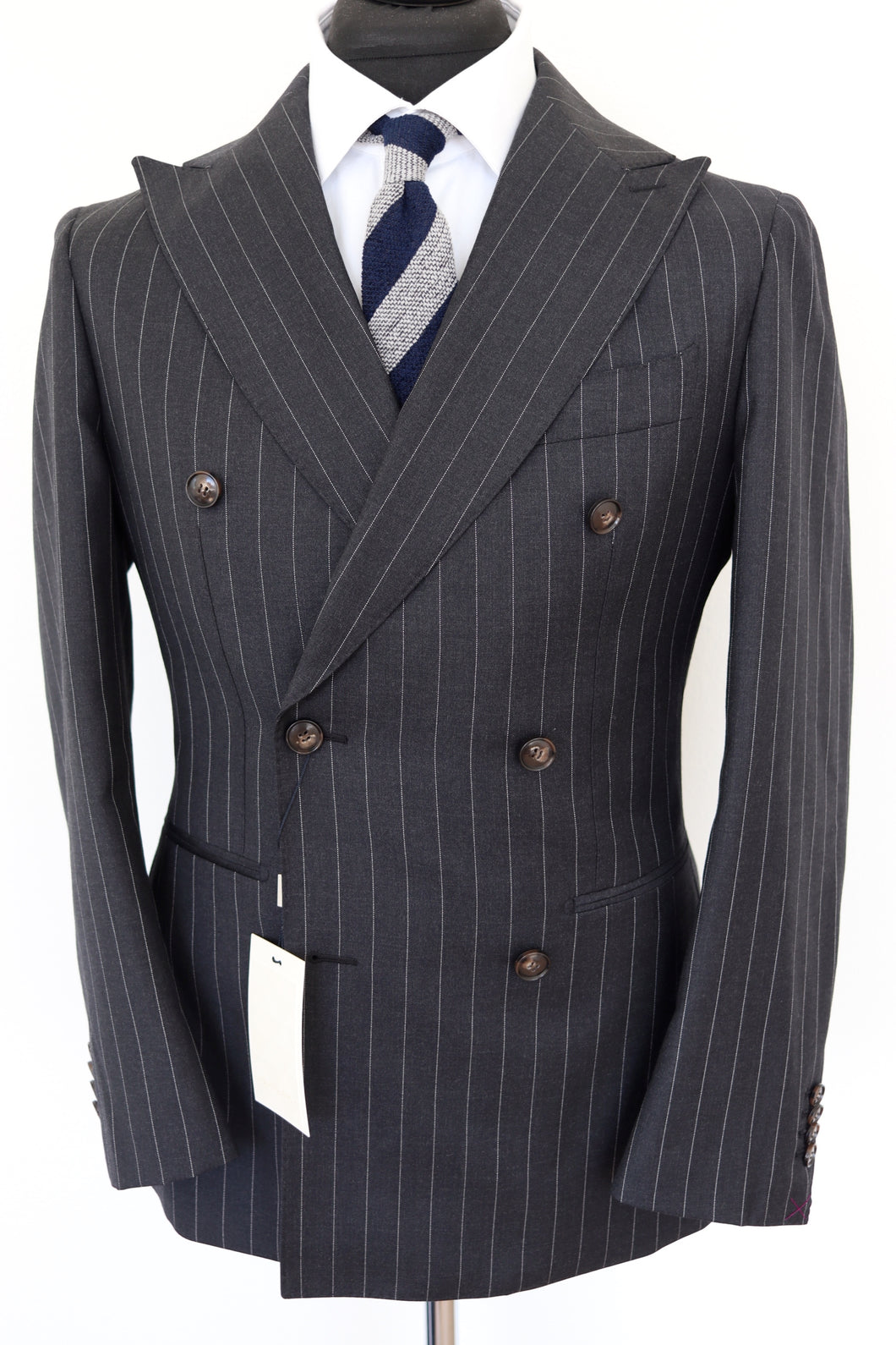 NWT Suitsupply Havana Dark Gray Pinstripe 100% Wool Suit - Size 36S and 44R
