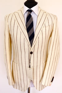 NWT Suitsupply JORT Brown Stripe Off White 45% Silk Jacket - Size 38R