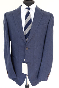 NWT Suitsupply Havana Blue Check 100% Linen Jacket - Size 44R