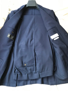 Used SUITSUPPLY Navy Blue Traveller 100% Wool Suit - Size 36R (38R Pants)