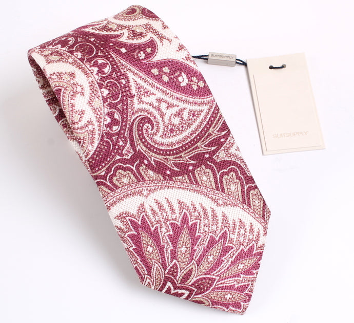 NWT Suitsupply Burgundy Paisley Silk and Linen Tie