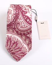 Load image into Gallery viewer, NWT Suitsupply Burgundy Paisley Silk and Linen Tie