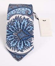 Load image into Gallery viewer, NWT Suitsupply Navy Paisley Silk and Linen Tie